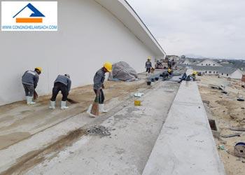 Quy trình sản xuất thi công sàn đá mài Granito-công-nghệ-làm-sạch