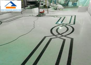 Quy trình sản xuất thi công sàn đá mài Terrazzo-công-nghệ-làm-sạch